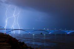 Beautiful photo of a lightning storm over the peace bridge in Buffalo, NY I love a good storm!