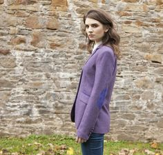 Classic Ladies Tweed Hacking Jacket - Purple Herringbone Tweed Blazer, Tweed Jacket, Blazer Jacket, Ladies Jackets, Jackets For Women, Herringbone Fabric, Wool Fabric, One Size Fits All, Lady