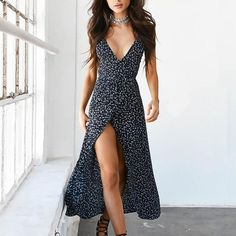 Romance Maxi Dress    This beautiful print chiffon dress will bring you the romance to your occasion. This Bohemian Style features v_neckline, spaghetti straps, empire waist, an ankle length and a line silhouette. Polyester-Spandex-Chiffon. Style yours with nude heels or strappy sandals.