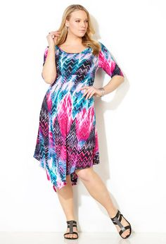 Pink Tie Dye Skater Dress - 2015 Summer BBQ Shower Dress #plussize - Bought it and it is flattering and comfortable.