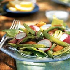 Grilled Vegetable Salad with Creamy Blue Cheese Dressing | MyRecipes.com