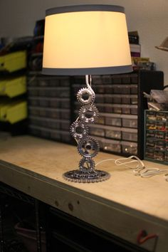 Re-Cycle-D Vintage 1982 Yamaha XS650 motorcycle parts table lamp. $199.00, via Etsy.: