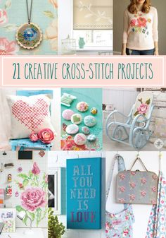 21 Creative Cross Stitch Projects - these are all so fun! Including my cross stitch rocking chair. - Crafting For Holidays Diy Embroidery, Cross Stitch Embroidery, Cross Stitch Patterns, Embroidery Patterns, Sewing Patterns, Modern Cross Stitch, Cross Stitch Flowers, Embroidery Techniques, Crafty Craft