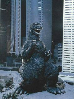 Godzilla takes a break during his busy shooting schedule.