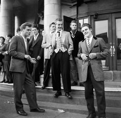American influence on European teenagers was huge. Rock and Roll idols  including Elvis Presley, Bill Hayley, Jerry Lee Lewis and film stars  James Dean and Marlon Brando set fashions almost unwittingly. The main  looks for teenagers were greasers and preppies. Teddy Boys, quiffs, Brylcreem, poodle skirts and blue suede shoes.