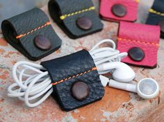 Leather earphone holder with leather covered snap button!