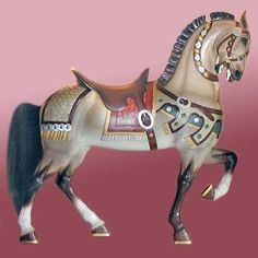 Carousel stander grey house short mane military look harness