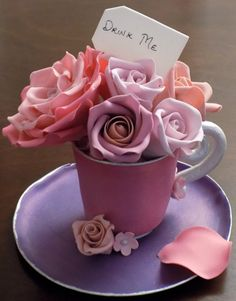Custom handmade gumpaste tea cup and saucer with different shades of pink sugar roses - wedding cake toppers York PA