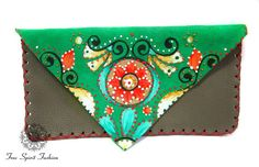 Bohemian Wallet/Painted Leather Wallet/womens by YoungNFreeSpirits