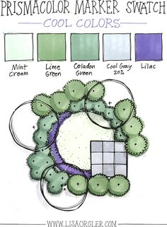 In the last few weeks I've received several questions about how to choose colors when rendering a landscape plan in marker. In response to your excellent inquiries I've shared my own guidelines and steps below, plus created three marker color combinations that I've seen my students use or I've tried myself. You can click here to download the entire marker swatch set from this post, plus a longer list of suggested marker colors. The examples I've given are using Prismacolor markers, but ...
