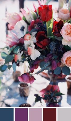 30 Gorgeous Fall Wedding Colors For An Unforgettable Day - Wedding Mood Boards + Wedding Inspiration - Mariage Fall Wedding Colors, Wedding Color Schemes, Wedding Flowers, Autumn Wedding Themes, Colors For Weddings, Fall Wedding Inspiration, Wedding Color Palettes, Red Purple Wedding, Fall Color Schemes