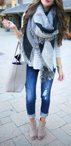 #Winter #Outfits / Oversized Gray Scarf + Striped Sweater
