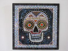 Mosaic Skull Day of the Dead Dia De Los Muertos OOAK by Jiveworks, $650.00