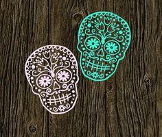Sugar Skull Decal | Customized Decal | Car Vinyl Decal | Preppy Skull Decal…