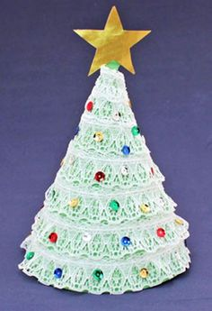 Christmas tree crafts idea, White Lace Christmas tree craft idea for 2013 Christmas #Christmas #tree #crafts www.loveitsomuch.com
