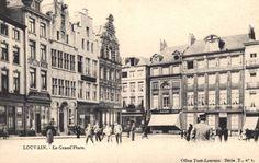 Leuven Grote Markt richting Kortestraat, rond 1900