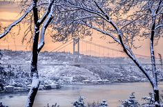 A beautiful snowy morning in Istanbul from Emirgan.