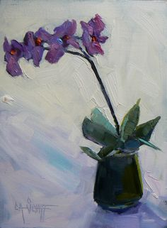 """Orchid Painting, Small Oil Painting, Daily Painting, Purple Flower, 6x8"""" Floral, """"The Perfect Gift"""" by CarolSchiffStudio on Etsy"""