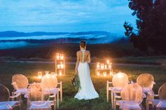romantic evening wedding ceremony design | Natural, modern wedding design ideas, flowers, design & decor at an apple orchard | Images: Kim Stockwell Photography