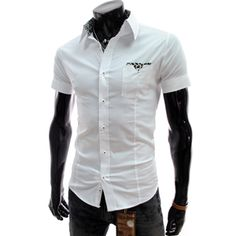(CE107-WHITE) Slim Fit Pattern Patched Short Sleeve Stretchy Shirts