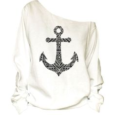 Anchor Print Oversized Off Shoulder Raw Edge Sweatshirt ($29) ❤ liked on Polyvore featuring tops, hoodies, sweatshirts, shirts, sweaters, silver, women's clothing, oversized sweatshirt, off the shoulder sweatshirt and white sweat shirt