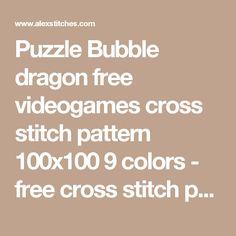 Puzzle Bubble dragon free videogames cross stitch pattern 100x100 9 colors - free cross stitch patterns by Alex