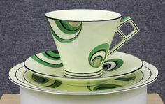 Delightful FOLEY 'Art Deco' TRIO - Very Rare Shape & Pattern. In its very attractive design and pattern it is a highly desirable and probably very hard to find example of 1930's Art Deco fine bone china (hva)