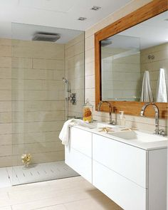 floor to ceiling glass shower- I think this would be fantastic for a small bathroom with just a tiny shower stall
