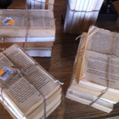 Overpriced vintage books bound in twine at Restoration Hardware = cheap/free awesome DIY decor.