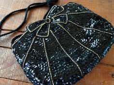 Vintage Black Sequin and Gold Beaded Evening Bag, Formal, Snap Closure