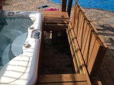 When planning you hot tub location you will need to make sure you have serviceability for the front of the Spa. Dropping a hot tub into a deck requires a… read more → Hot Tub Bar, Hot Tub Deck, Hot Tub Backyard, Hot Tubs, Hot Tub Surround, Swimming Pool Decks, Deck Steps, Backyard Pool Designs, Courtyards