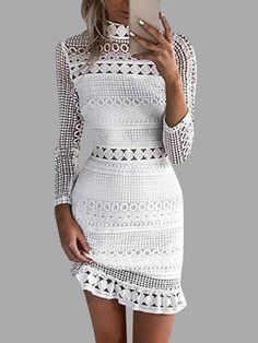 White Lace Cut Out Design High Neck Long Sleeves Dress