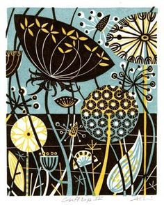 Angie Lewin is a lino print artist, wood engraver, screen printer and painter depicting the UK's natural flora in linocut and other limited edition prints. Angie Lewin, Botanical Illustration, Illustration Art, Illustrations, Linocut Prints, Art Prints, Block Prints, Atelier D Art, Motif Floral
