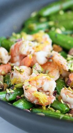 Sauteed Shrimp with Snap Peas, Pistachios, and Basil
