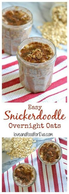 Tired of the usual breakfast routine? Try this healthy Snickerdoodle Overnight O… Tired of the usual breakfast routine? Try this healthy Snickerdoodle Overnight Oats recipe – you need just a couple of ingredients and a few minutes prep! Overnight Oats In A Jar, Overnight Breakfast, Healthy Overnight Oats, Best Overnight Oats Recipe, Healthy Breakfast Smoothies, Healthy Drinks, Healthy Food, Nutrition Drinks, Healthy Recipes