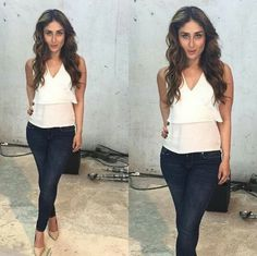 Kareena Kapoor in a casual white stop and jeans