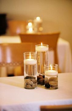 floating candles and rocks