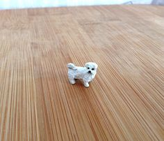 Bichon Maltese Dog Puppy - Tiny handmade figurine - Animal Sculpture - Collectible Figurine - OOAK. by KylieCraft on Etsy