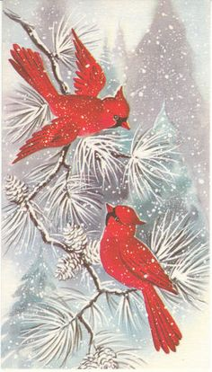 Vintage Christmas Card Red Birds Snow Tree Cardinal Bird