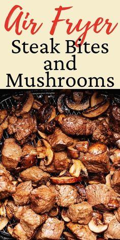 Air Fryer Recipes Steak, Air Fryer Dinner Recipes, Air Fryer Recipes Easy, Steak Recipes, Backstrap Recipes, Air Fry Steak, Steak And Mushrooms, Wild Mushrooms, Air Fryer Healthy