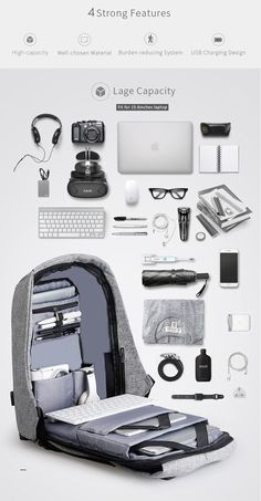 """Bobby By Mark Ryden   15"""" With USB Charger Anti-Theft Backpack, Splash and Slash Proof"""