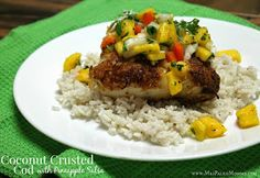 Mrs Paleo Mommy: Coconut Crusted Cod and Pineapple Salsa