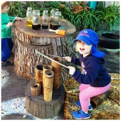 Great outdoor music station (via Elder Street Early Childhood Centre) Outdoor Learning Spaces, Outdoor Play Areas, Outdoor Education, Outdoor Activities For Kids, Outdoor Fun, Preschool Playground, Preschool Garden, Preschool Music, Playground Ideas