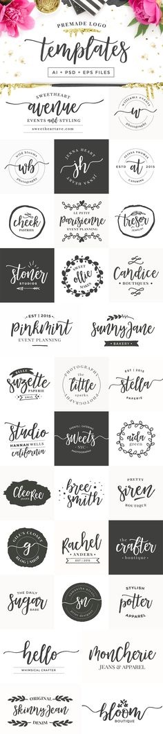 by Pink Coffie on Creative logo design inspiration, perfect for a modern business branding with perfect font and typography selection. Take some ideas or use this feminine, elegant, nature, floral and also hipster set. Photography Packaging, Photography Logos, Photography Business, Creative Photography, Photography Ideas, Web Design, Blog Design, Design Ideas, Photoshop