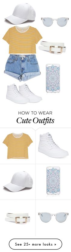 """""""Cute Cap Outfit~"""" by aly-whelchel on Polyvore featuring Monki, Levi's, Vans, Sun Buddies, baseballcap and baseballhats"""