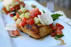 Italian Grilled Chicken with a Cucumber Bruschetta Topping...I doubled the recipe for topping...yum!