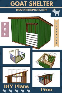 Free Woodworking Plans If you want to build a super basic goat shelter that will be both easy to build and also budget friendly, you should check out my plans. This is a lean to shelter that you can also use for storing other items. Lean To Shelter, Goat Shelter, Animal Shelter, Mini Goats, Baby Goats, Goat Playground, Goat Shed, Goat House, Goat Care