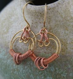 Copper and Brass Wire Wrapped Free Form by LoneRockJewelry on Etsy