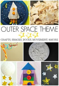 Outer space theme for kids. Perfect for a summer camp at home or themed week of activities like VBS. Space crafts, snacks, books, movement, and more.