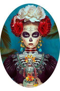 Comics Illustrator of the Week: Natalie Shau Costume Halloween, Fall Halloween, Halloween Makeup, Halloween Halloween, Vintage Halloween, Sugar Scull, Sugar Skull Art, Mexican Skulls, Mexican Folk Art
